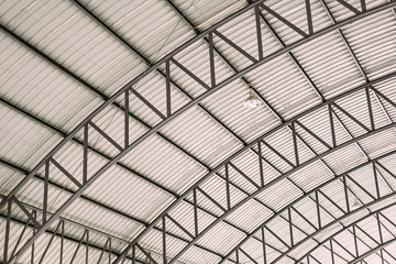 Pattern of steel roof framework, Curve roof steel design structure with galvanized corrugated roofing tile steel sheet.