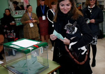 """Natalia carries her dog, named """"Torete"""", as she holds her ballot before casting her vote for the Andalusian regional elections at a polling station in Malaga"""