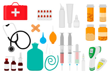 big colored set different types medication of different size for pharmacy