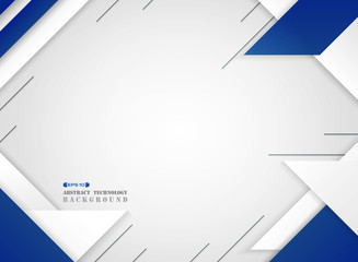 Abstract of futuristic blue and white geometric modern pattern on gradient white background.