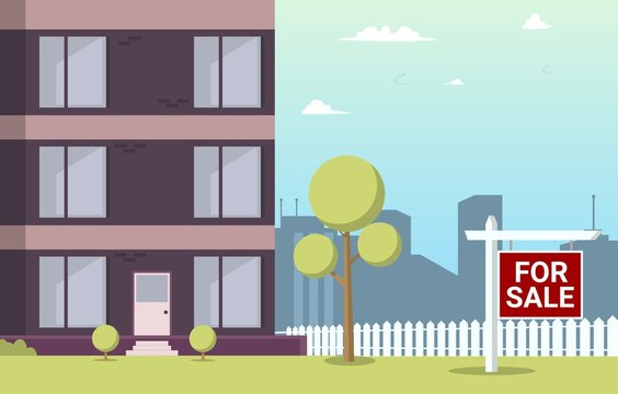 Vector Illustration Cartoon Apartment For Sale