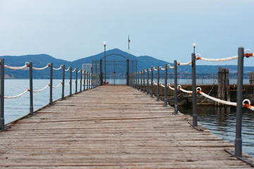 Pier with closed gate