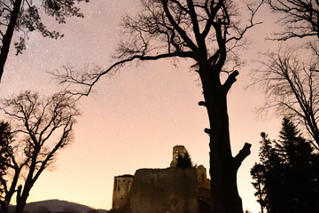Castle ruins photography in the night Zborov Slovakia
