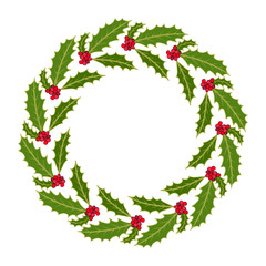 Christmas holly tree wreath with leaves and red berries