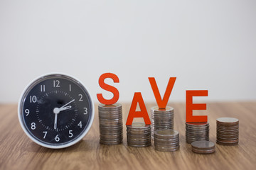 Time for savings money concept, banking and business idea.