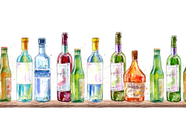 Seamless border of a champagne,vodka, cognac, wine, beer and glass. Painting of a alcohol drink in the bar .Watercolor hand drawn illustration.White background.