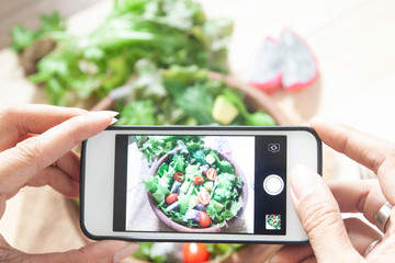 Woman hands taking photo on salad  bowl with mobile phone