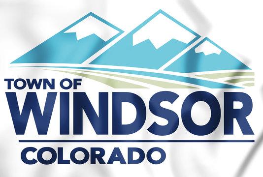 3D Flag of Windsor (Colorado), USA.