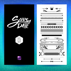 Black and white save the date clip art