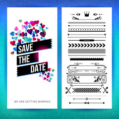Rectangular save the date heart graphics vector image
