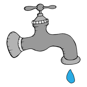 Gray water tap with a drop of water. Vector illustration water tap with a drop. Hand drawn water tap.