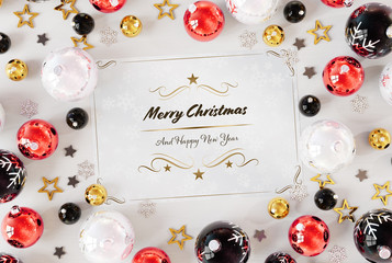 Christmas card greetings with red baubles 3D rendering