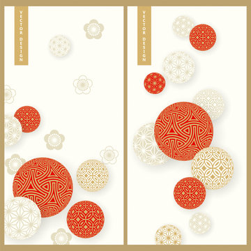 vector set with two red and white cards with traditional ornamented temari balls. design for products, print, business, cards