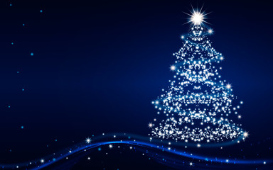 The Magic Christmas Tree. Merry Christmas and happy New Year greeting card with copy-space. Blue...