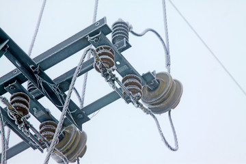 Electric power equipment in the frost and snow