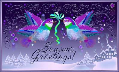 Christmas greeting card with beautiful birds holding winter decoration. Season Greetings. Vector cartoon image.