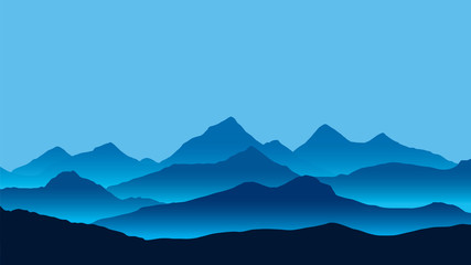 Realistic illustration of mountain landscape with fog under blue sky