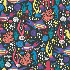 Cute cartoon illustration of a sea life. Seamless pattern