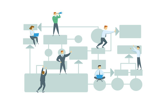 Teamwork, business workflow layout with chart elements and people figures. Business plan. Flat vector illustration. Isolated on white background.
