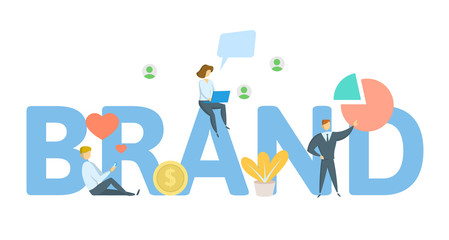 BRAND banner. Concept with keywords, letters and icons. Colored flat vector illustration on white background.