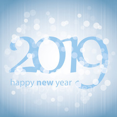 Best Wishes - Blue Abstract Modern Style Happy New Year Greeting Card, Cover or Background, Creative Design Template - 2019