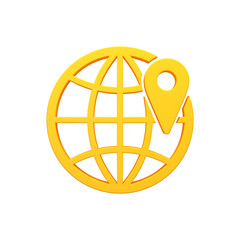 Globe location 3d volumetric icon image isolated illustration