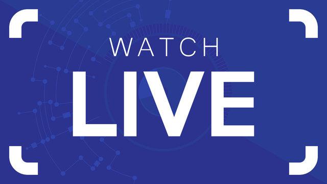 Watch Live. White illustration on blue background. Vector illustration.