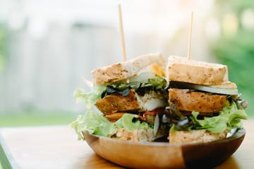Sandwich handmade on desk at chicken room.