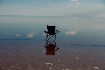 a chair in the salt lake