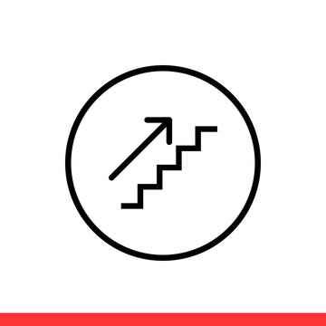 Upstairs icon vector, arrow symbol sign