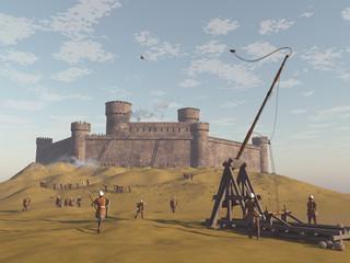Castillo medieval asediado