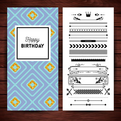 Happy birthday stationery with borders and icons