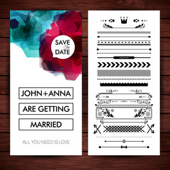 Vector illustration of Wedding invitation text over wooden background