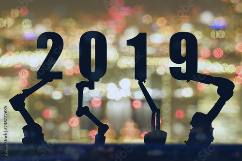 2019 Robotics Arm Lift Up The 2019 New Year Number With Landscape Or