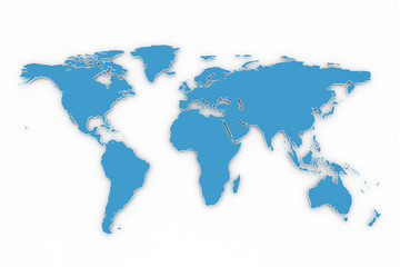 Blue and white 3D world map