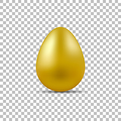 Realistic easter golden egg with shadow. Vector illustration.