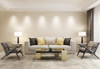 Modern beige eclectic luxury living room