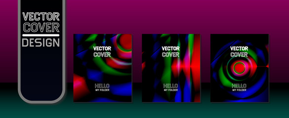 Vector illustration. A set of folders. Colored folders. Paper. Office Identity. Cyber technology. Abstractions.