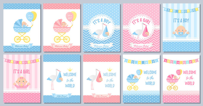 Baby Shower boy card. Vector Baby girl design. Cute birth party background. Welcome template invite. Pink blue poster. Happy greeting banner with kid, stork, pram, polka dot print Cartoon illustration