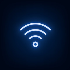 Blue Wi-Fi neon glowing icon. Vector illustration.