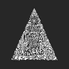 Vector Christmas tree of holidays lettering. Merry Christmas and a Happy New Year text for invitation and greeting card, prints and posters. Hand drawn vintage christmas design.