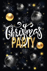 Party poster Merry Christmas holiday club invitation. Calligraphy lettering with gold ornament decoration of golden ball and gold snowflake on black background.