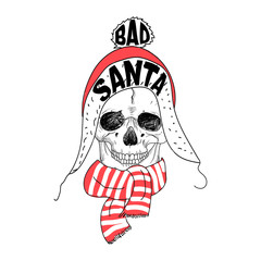 Portrait of Santa Claus. Santa claus cartoon skull. Lettering Bad Santa. Hand drawn typography for greeting card, postcard, poster, invitation, flyer, booklet. X-mas t-shirt illustration