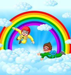 Door stickers Rainbow Two skydivers are flying in the sky