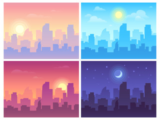 Daytime cityscape. Morning, day and night city skyline landscape, town buildings in different time and urban vector background Wall mural