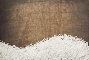 sea salt spice on wooden table