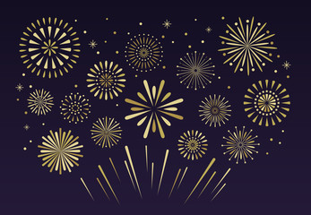 Gold festive fireworks. Christmas pyrotechnics firecracker vecto