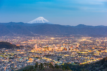 Kofu, Japan Skyline with Fuji