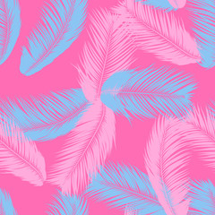 Feathers Seamless Pattern. Tropical Background. Jungle Foliage in Pastel Color Design. Abstract Exotic Wallpaper with Palm Leaves. Pink Feathers for Design, Cloth, Fabric, Textile. EPS10 Vector.