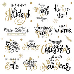 Happy Holiday, Merry Christmas, Happy New Year big set greeting card. Premium luxury background for holiday greeting card. Gold calligraphy lettering.